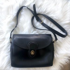VINTAGE COACH PRAIRIE BLACK LEATHER BAG